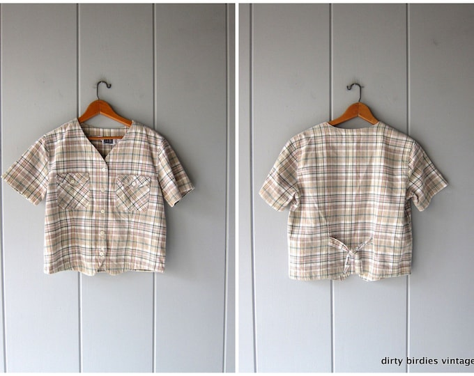 Cropped Plaid Shirt Minimal Beige Checkered Top Boxy Button Up with Pockets Womens Medium