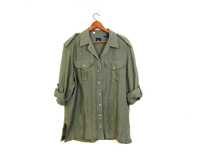 Army Green Linen Blouse Oversized Button Up Shirt Slouchy Loose Fitting Rayon Modern Minimal Top Womens Large