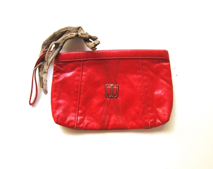 80s Red Leather Clutch