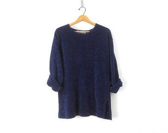 Long 90s Soft Purple Plush Pullover Sweater Slouchy Knit Chenille Jumper  1990s Tunic Sweater Women s Size Small Medium 1f389857e
