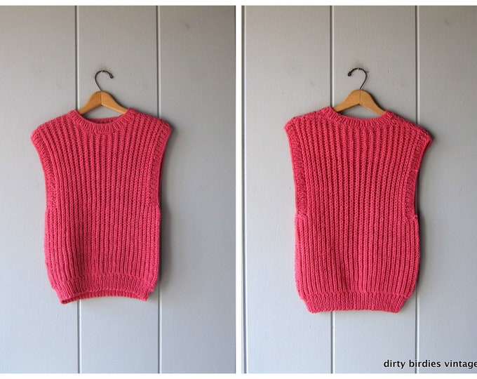 Pink Knit Sweater Top Sleeveless Sweater Vest Fall Preppy Handwoven Knit Sweater Vintage Womens Medium Large