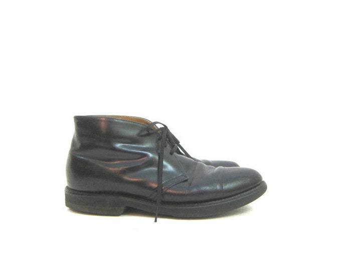 Men's Black Leather Shoes Lace Up Oxfords 80s Leather Chukkas Boots Hipster Tie Up Work Shoes Vintage Mens size 8.5