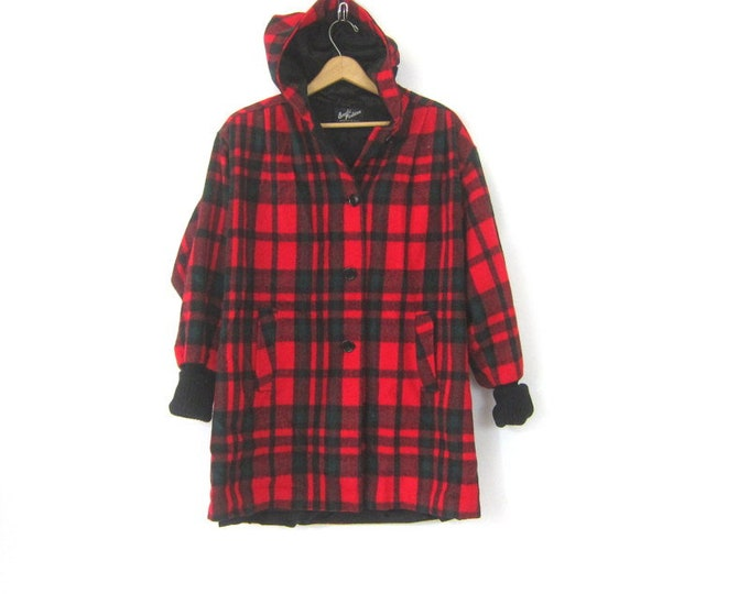 Vintage Plaid Wool Winter Coat with Hood 1980s Red Green and Black Hooded Trench Coat Preppy Mod WOOL Coat Boho Modern Womens Medium Large