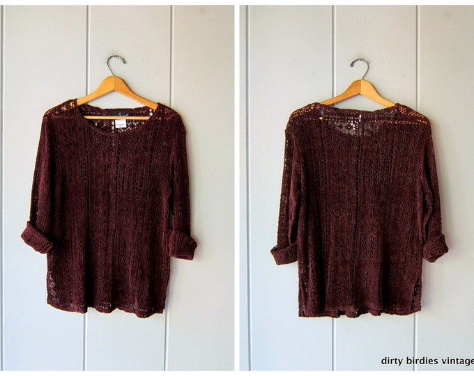Purple Open Knit Sweater - Small