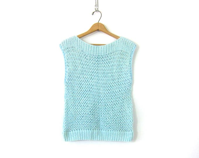 Minimal Crochet Knit Sweater Top Sleeveless Blue Loose Knit Sweater Vest Top Basic Prep Knit Shirt Vintage Womens Size Medium