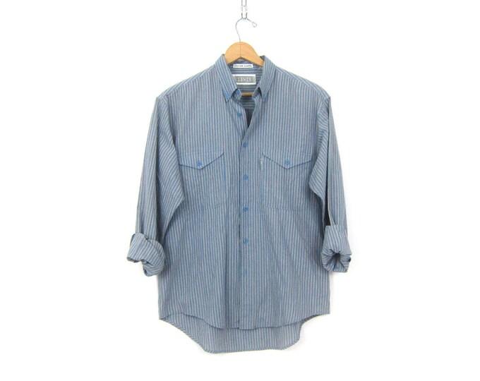 Vintage LEVIS Shirt 90s Button Up Boyfriend Shirt Oversized Striped Blue Boyfirned Oxford Pocket Shirt Slouchy Mens Work Shirt size Medium