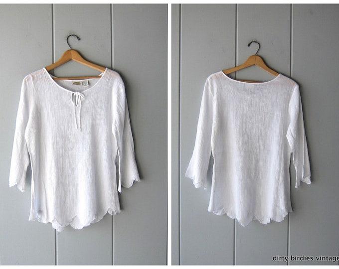 White Cotton Gauze Tunic Top Scallop Sleeve Blouse 90s Smock Shirt Boho Hippie Vintage Flutter Angel Sleeves Womens Medium