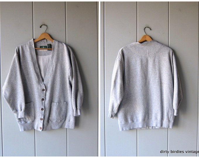 Grey Sweatshirt Cardigan Vintage 90s Athletic Sporty Grunge Sweatshirt Slouchy Minimal Basic Gray Pocket Sweater Boyfriend Fit Womens Medium