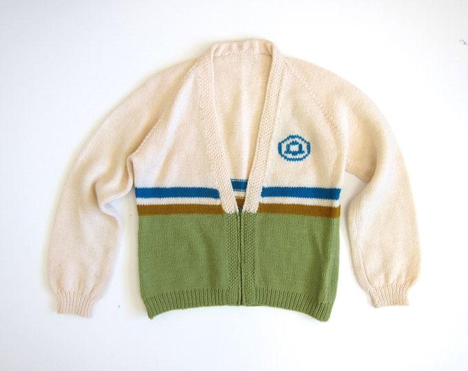 Vintage White Cardigan Sweater Handmade Sweater Coat Zip Up Varsity Sweater 50s Olive Green Preppy Sweater Womens Mens Medium Large