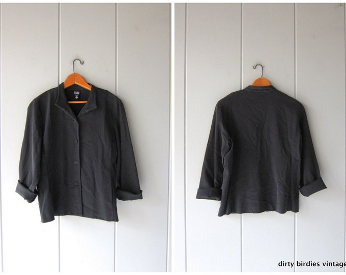 Black Silk & Cotton Blouse Vintage 90s Eileen Fisher Button Up Blouse Minimal Stretch Blouse Top Womens Small