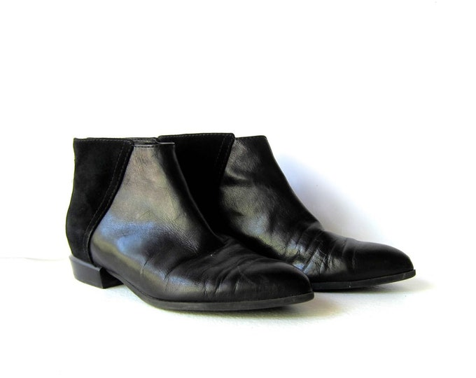Black Suede & Leather Boots 8
