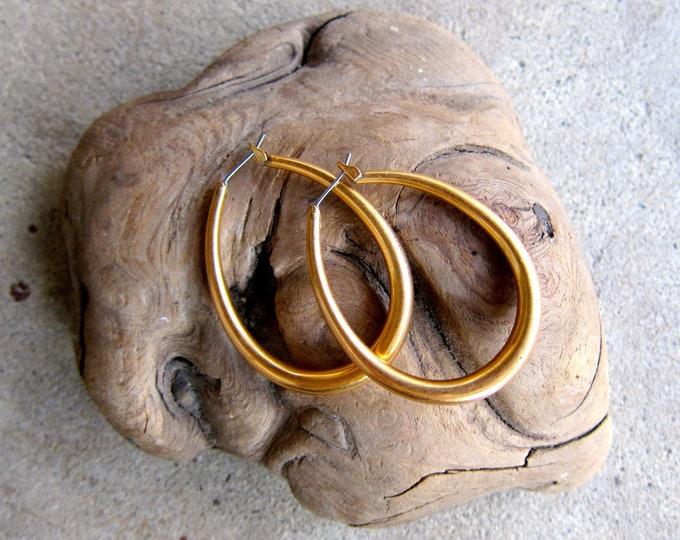 Brass Hoop Earrings 90s Vintage Large Oval Drop Earrings Minimal Boho Hipster Retro Mod Jewelry