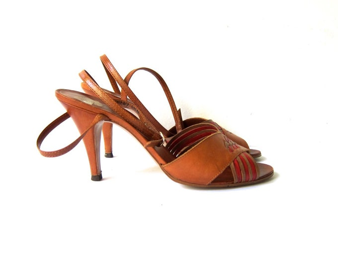 70s Woven Leather Sandals - 8/8.5
