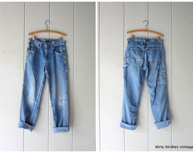 Vintage KEY Jeans Distressed  Denim Carpenter Work Pants Blue Farmer Workwear Engineer Jeans Men's size 30 x 34