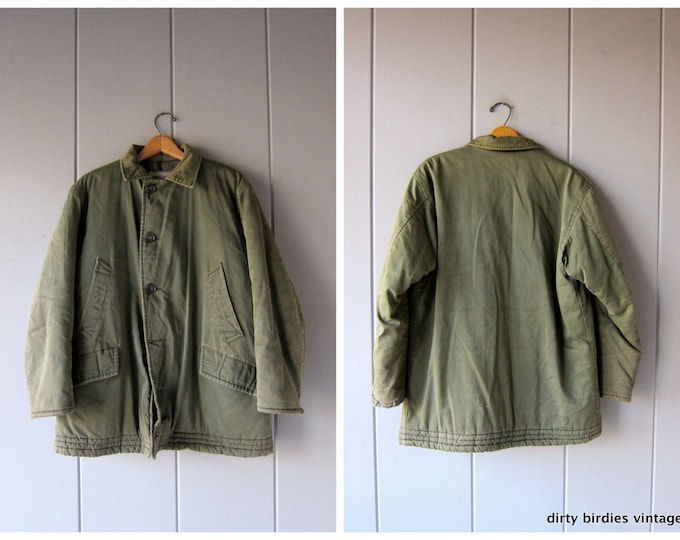 70s Army Green Coat Military Commando Cargo Grunge Oversized Thick Winter Jacket 80s Vintage Camo Anorak Mens 44