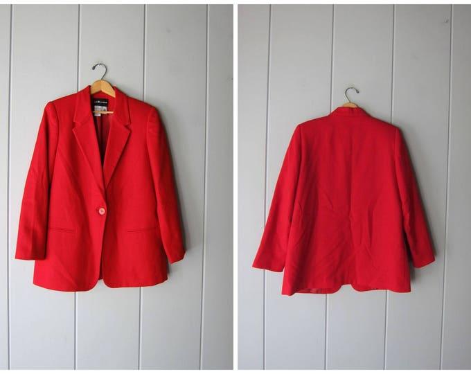 Vintage 90s Red Wool Blazer - 12 Large