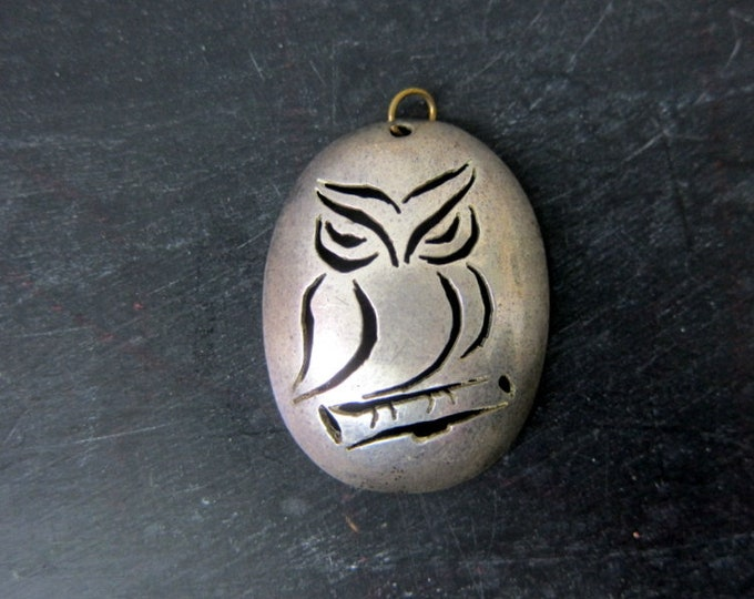 80s OWL Necklace | Large Silver Pendent Necklace | Animal Jewelry | Womens Cut Out Costume Jewelry Necklace