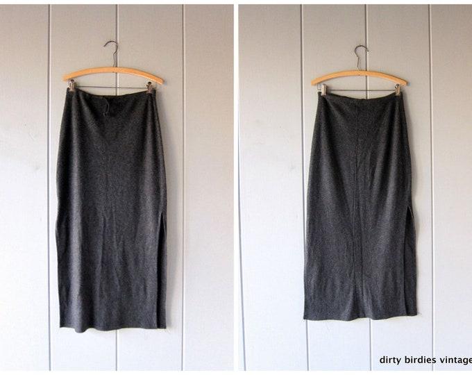 Gray Sweatshirt Skirt 90s Drawstring Long Midi Skirt Activewear Vintage Soft Fuzzy Fleece Skirt with High Slits Easy Basic Womens Medium