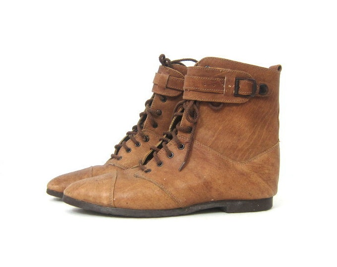Brown Leather ankle boots Vintage Lace Up Shoes PIPPI booties Peter Pan granny boots womens 1980s Shoes size 9