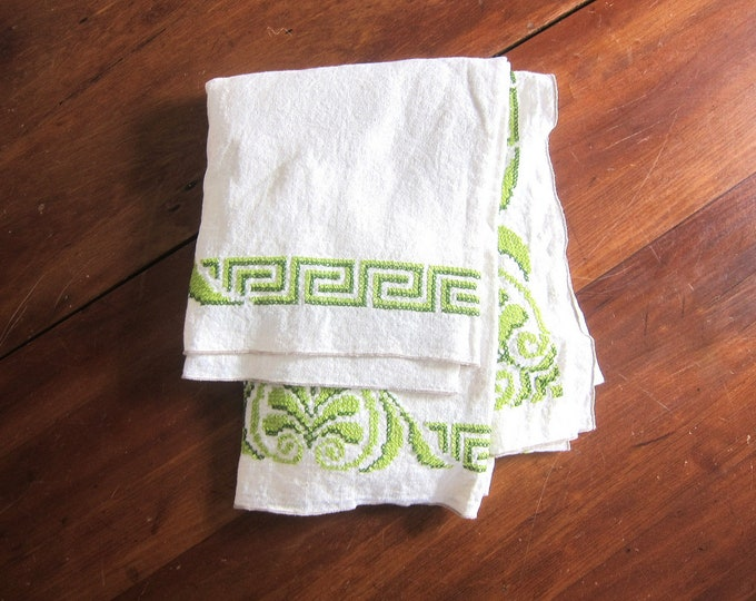 White Linen Tablecloth Vintage Green Embroidery tablecloth Dining Table Kitchen Home Decor