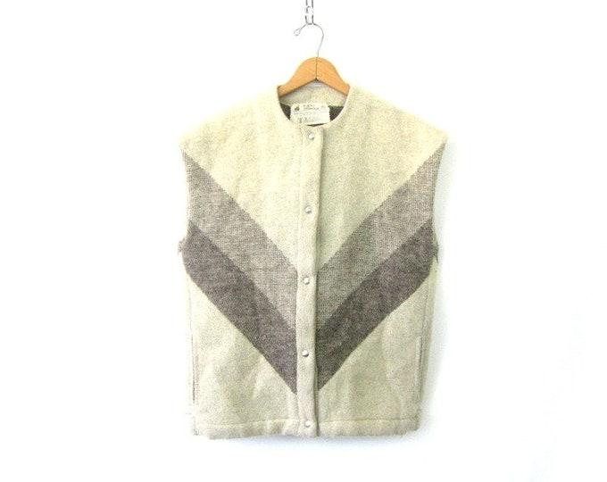 Vintage Icewool Vest Jacket Sleeveless Outdoor Ski Vest Chevron Stripe Boho Hipster Wool Vest Size Small