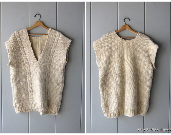 Handwoven Natural Wool Sweater Vest Thick Knit Country Pullover Cream White Wool Oversized Tunic Sweater Heavy Knit Vintage Sweater Unisex