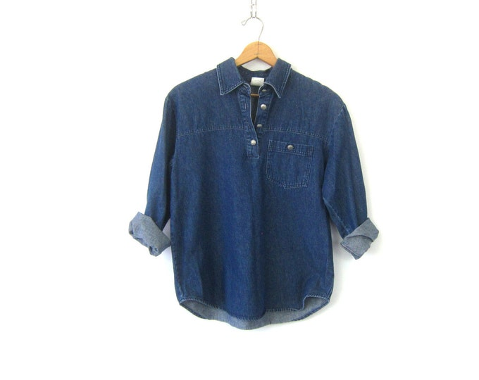 Vintage Jean shirt Pullover Button Collar Henley Denim Pocket Shirt 90s Casual Preppy Shirt Normcore Women's Size Small Medium