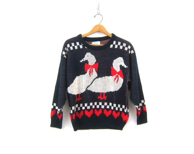 Vintage 2 geese in love Novelty Red hearts Sweater Blue Goose Sweater Ugly Christmas sweater contest winner Size Medium