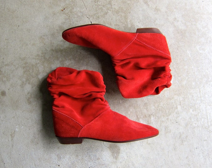 Slouchy Red Suede Boots - 9 / Italy 40