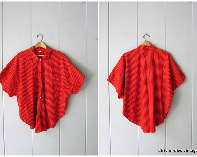 Oversized Red Striped Shirt - 44 3XL
