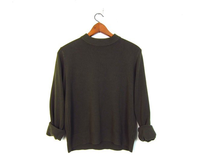 Army Green Mock Neck Sweater Simple Knit Pullover Modern 90s Minimal Long Sleeve Top Womens Large