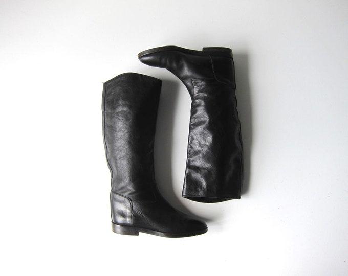 Joan & David Italian Boots Black Leather Equestrian Boots Tall Black Leather Boots Modern Riding Boots Womens 6