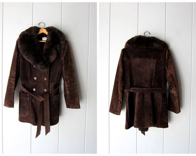 70s Suede Coat Dark Brown Leather Coat Belted Winter Jacket Bohemian Hippie Vintage 60s Faux Fur Collar Coat Womens Small Medium