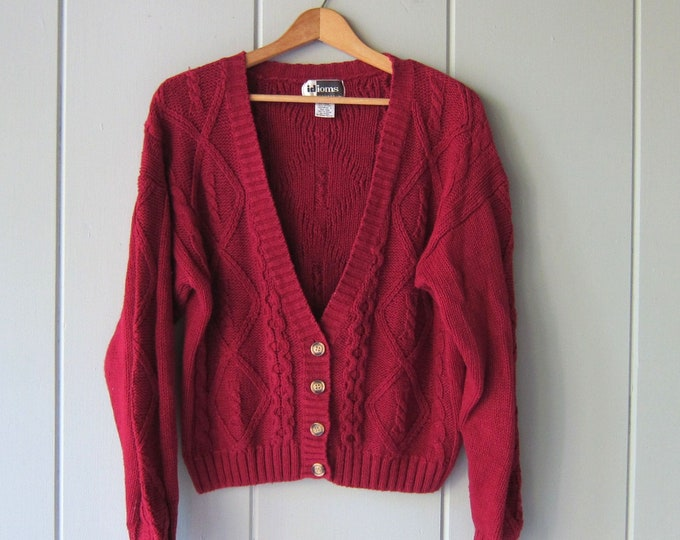 Slouchy Knit Cardigan Sweater Raspberry Pink Oversized 90s Sweater Cropped Button Up Womens Medium