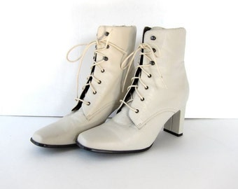 vintage 90s white leather boots tall leather lace up ankle boots granny  booties square toe high heel leather boots victorian womens 11 0ab449e4ac