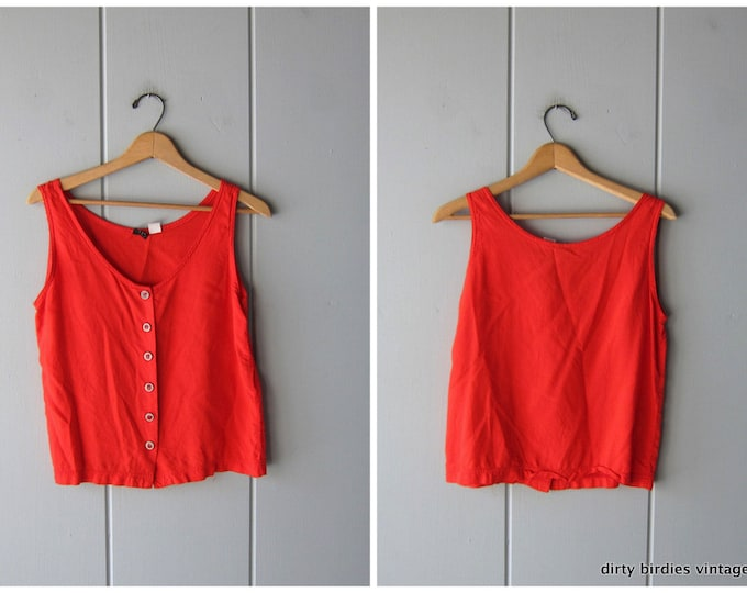 80s Crop Top Red Tank Top Basic Cropped Button Up Sleeveless Blouse Vintage Minimal Modern Womens Small XS