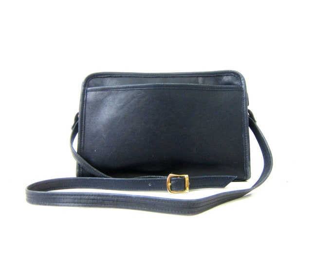 Navy Blue Leather Purse Wilsons  Crossbody Shoulder Purse Satchel Leather Tote 90s Preppy Bag Rectangle Cross Body Purse