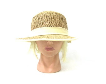 Vintage Woven Straw Hat Garden Sunvisor Natural Brown Bow Hat Modern Minimal  Sun Hat Wide Brim Beach Gardening Gardeners Hat Womens Medium