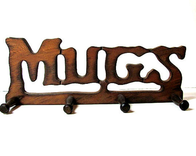 "1970s Kitchen - Vintage Wood ""Mugs"" Rack"