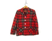 1950s Vintage Red Plaid Wool Blazer Jacket Hipster Boho Slouchy Jacket Button Up Blazer Coat with Pockets Womens Medium
