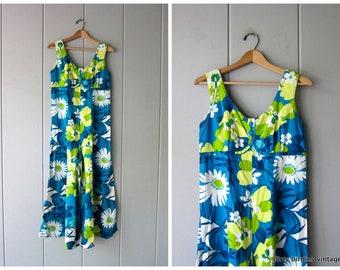 5f9ec18d2de2 60s Floral Hawaiian Romper Vintage Wide Leg Jumpsuit One Piece Outfit Retro  Beach Vacation Jumper Culottes Women S/M