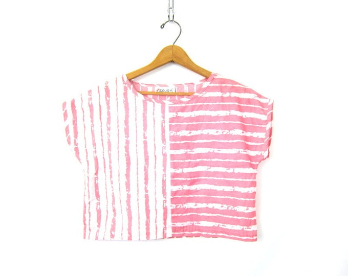 80s Crop Top Pink White Striped Boxy Cap Sleeve Tee 1980s Summer Retro Cropped Top Vintage Beach Top Shirt Womens Medium Large