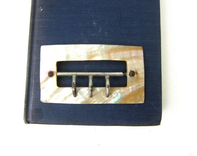 ART DECO Belt Buckle 1950s Vintage SHELL Buckle Mid Century Seashell Belt Buckle