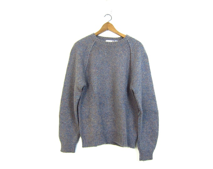Purple Speckled Sweater Nubby Knit Thick Knit Pullover Top 80s Raglan Sweater / Mens Large