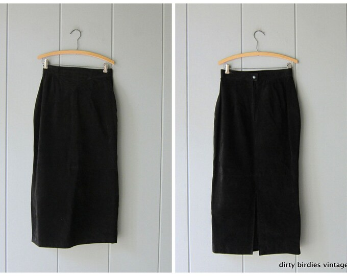 80s Black Suede Skirt