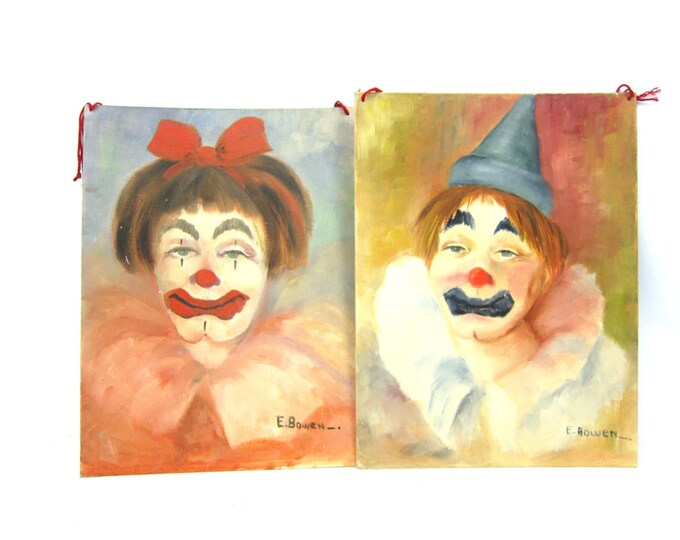 Vintage Clown Paintings Folk Art Circus decor 2 wall hangings Faces Hand Painted Naive Art Kitschy Canvas Board Pictures Wall Hangings DES