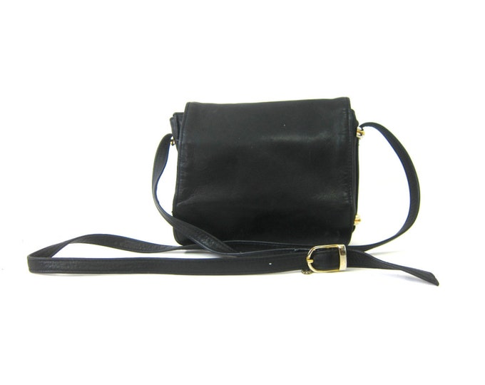 Small Black Leather Purse Vintage Purse Cross Body Purse Modern Minimal Crossbody Bag 90s Black Leather Bag Across Body Purse