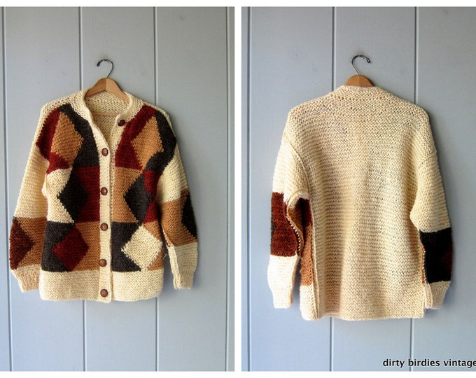 70s Handwoven Wool Sweater - Large