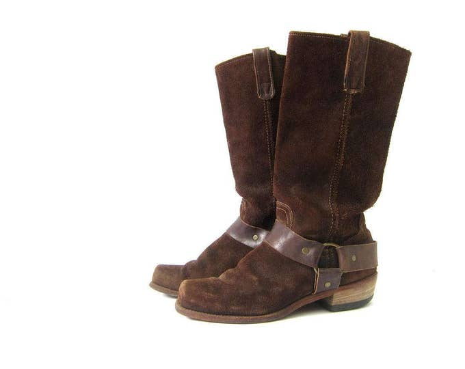 Tall Brown Leather Harness Boots 70s Motorcycle Biker Boots Vintage Western Boots Womens 9 / 9.5