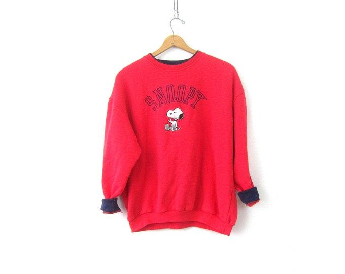 Oversized Red Snoopy sweatshirt Slouchy sweater Jumper Peanuts Baggy Vintage Cartoon Novelty Top Women's Size 1X XL